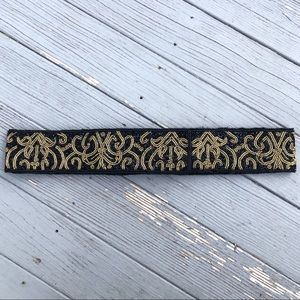 Talbots black/ metallic gold beaded Velcro belt OS